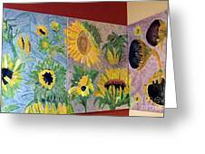 Tryptich Corner Sunflowers Greeting Card by Vicky Tarcau