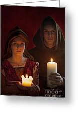 Tudor Medieval Young Attractive Couple  Holding  Candles Greeting Card by Lee Avison