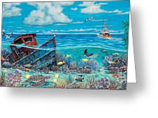Tug Boat Reef Greeting Card by Danielle  Perry
