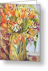 Tulips And Narcissi In An Art Nouveau Vase Greeting Card by Joan Thewsey