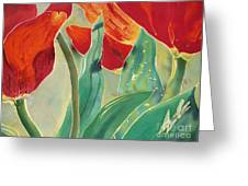 Tulips And Pushkinia Upper Detail Greeting Card by Anna Lisa Yoder