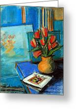 Tulips In The Mirror Greeting Card by Mona Edulesco