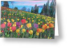 Tulips Lake Greeting Card by Anthony Caruso