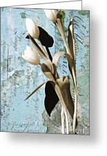 Tulips On Rustic Blue Script Wall Greeting Card by Anahi DeCanio