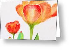 Tulips Orange and Red Greeting Card by Ashleigh Dyan Bayer