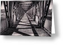 Tulsa Pedestrian Bridge In Black And White Greeting Card by Tamyra Ayles