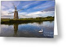 Turf Fen Drainage Mill Greeting Card by Louise Heusinkveld