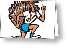 Turkey Run Runner Thumb Up Cartoon Greeting Card by Aloysius Patrimonio