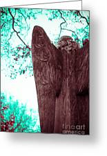 Turquoise Angel Greeting Card by Sonja Quintero