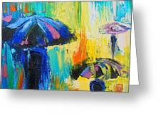 Turquoise Rain Greeting Card by Susi Franco