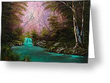 Turquoise Waterfall Greeting Card by C Steele