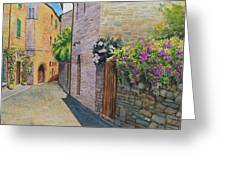 Tuscan Alley Greeting Card by Marguerite Chadwick-Juner