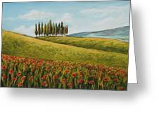 Tuscan Field With Poppies Greeting Card by Melinda Saminski