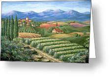 Tuscan Vineyard And Village Greeting Card by Marilyn Dunlap
