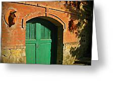Tuscany Door With Horse Head Carvings Greeting Card by John Malone