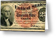 Twenty Five Cent 4th Issue U.s. Fractional Currency Fr 1302 Greeting Card by Lanjee Chee