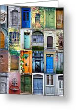 Twenty Four French Doors Collage Greeting Card by Georgia Fowler