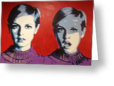 Twiggy Two Face Greeting Card by Grant  Swinney