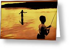 Twilight Fishing Greeting Card by John Hansen