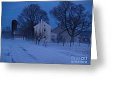 Twilight Snow On Bauman Road Greeting Card by Anna Lisa Yoder