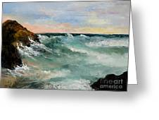 Twilight Surf Greeting Card by Larry Martin