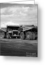 Twin Caterpillar Trucks Greeting Card by Alanna Dumonceaux