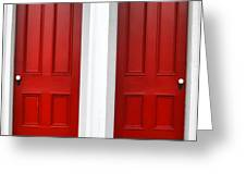 Twin Red Doors Greeting Card by Olivier Le Queinec