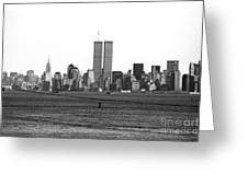 Twin Towers From Staten Island Greeting Card by John Rizzuto