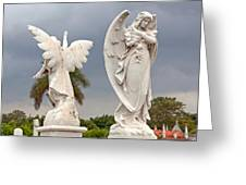 Two Angels With Cross Greeting Card by Terry Reynoldson