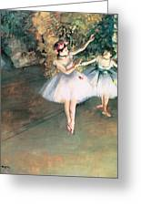 Two Dancers On A Stage Greeting Card by Edgar Degas
