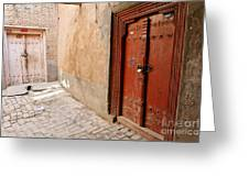 Two Doors In The Old Town Of Kashgar Greeting Card by Robert Preston