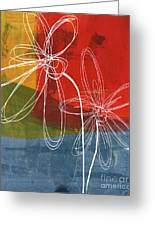 Two Flowers Greeting Card by Linda Woods