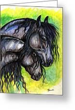 Two Fresian Horses Greeting Card by Angel  Tarantella