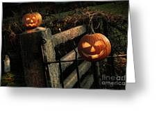 Two Halloween Pumpkins Sitting On Fence Greeting Card by Sandra Cunningham