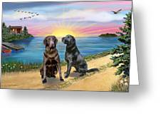 Two Labs At The Lake Greeting Card by Jean B Fitzgerald