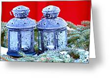 Two Lanterns Frozty Greeting Card by Toppart Sweden