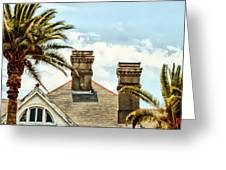 Two Palms Two Chimneys And Gable Greeting Card by James Stough
