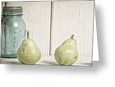 Two Pear Still Life Greeting Card by Edward Fielding