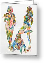 Two Psychedelic Girls With Chimp And Banana Portrait Greeting Card by Fabrizio Cassetta