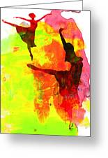 Two Red Ballerinas Watercolor Greeting Card by Naxart Studio