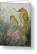 Two Sea Horses Greeting Card by Nancy Gorr