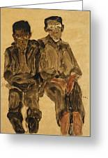 Two Seated Boys Greeting Card by Egon Schiele