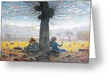 Two Shepherds On The Fields Of Mongini Greeting Card by Giuseppe Pelizza da Volpedo