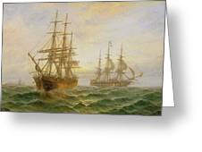 Two Ships Passing At Sunset Greeting Card by Claude T Stanfield Moore