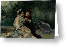 Two Spanish Women Greeting Card by Ricardo de Madrazo y Garreta