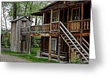 TWO STORY OUTHOUSE - NEVADA CITY MONTANA Greeting Card by Daniel Hagerman