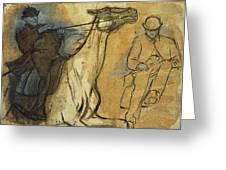 Two Studies Of Riders Greeting Card by Edgar Degas