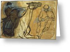 Two Studies Of Riders Greeting Card by Edgar Degas