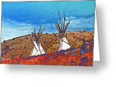 Two Teepees Greeting Card by Kae Cheatham