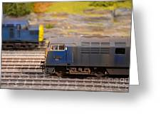 Two Yellow And Blue Model Train Engines Greeting Card by Imran Ahmed
